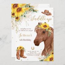 Horse Birthday Party Cowgirl Sunflower Birthday  I Invitation