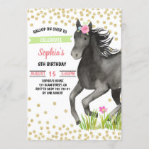 Horse Birthday Party Gold Glitter Pink Floral Invitation