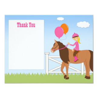 Horse Birthday Party Thank You Card