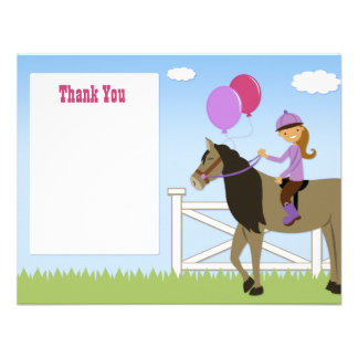 Horse Birthday Party Thank You Card Invitations