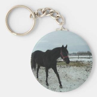 Horse Black Beauty Basic Round Button Keychain