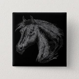 Horse:  Black Pinback Button