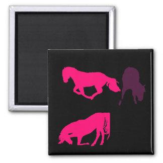 horse black purple pink  silhouette magnet