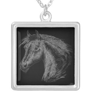 Horse:  Black Silver Plated Necklace