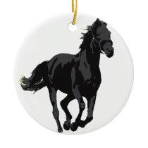 Horse - Black Stallion Ceramic Ornament