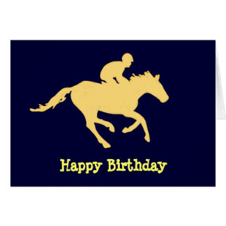 Horse Blue and Cream Birthday Card