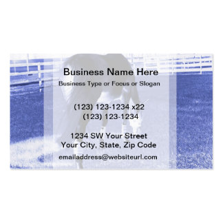 horse blue grazing in equine image business card template