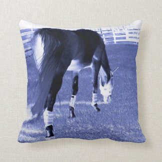 horse blue grazing in equine image throw pillow