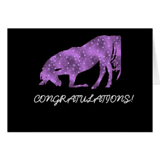 Horse Bowing Purple on Black Congratulations Card