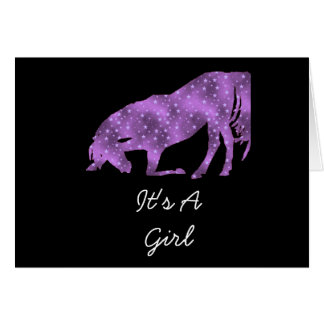 Horse Bowing Purple on Black It's A Girl Card