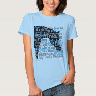 Horse Breeds Ladies T-Shirt Blue