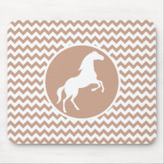 Horse; Brown Chevron Mouse Pad
