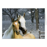 Horse Buddies In The Snow Greeting Card