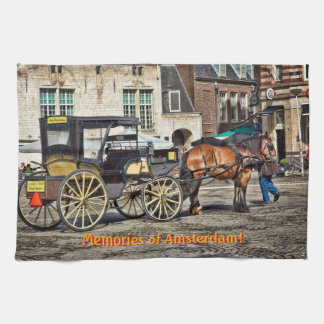 Horse Buggy Taxi, Memories of Amsterdam Hand Towels