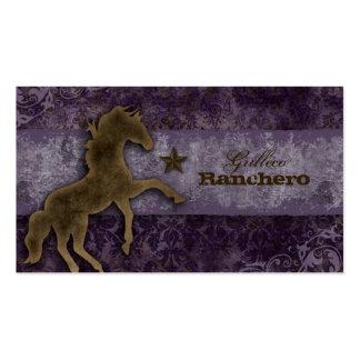 Horse Business Card Western Vintage Damask Purple