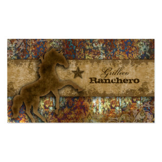Horse Business Card Western Vintage Damask Rust