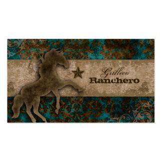 Horse Business Card Western Vintage Damask Teal