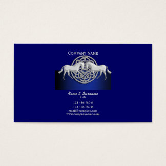 Horse business marketing blue black white celtic business card