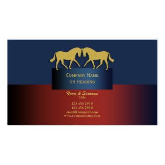 Horse business marketing blue gold Double-Sided standard business cards (Pack of 100)