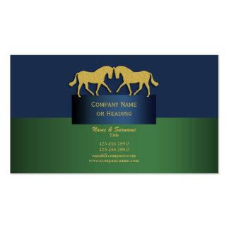 Horse business marketing blue gold green business card template