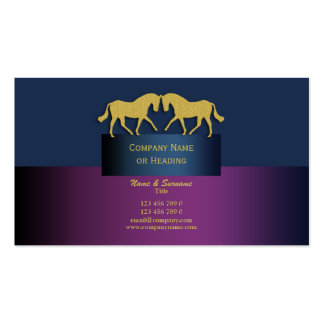 Horse business marketing blue purple gold business card
