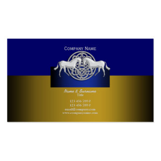 Horse business marketing gold blue white celtic business cards