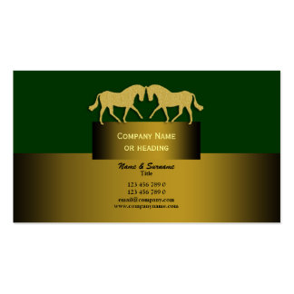 Horse business marketing gold green business cards