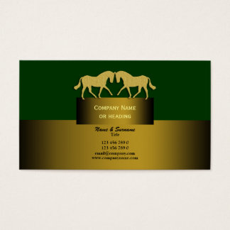Horse business marketing gold green business card