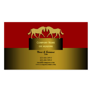 Horse business marketing gold red black Double-Sided standard business cards (Pack of 100)
