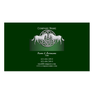 Horse business marketing green white celtic Double-Sided standard business cards (Pack of 100)