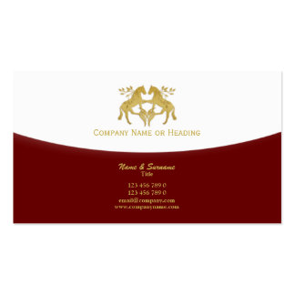 Horse business marketing red gold business card templates