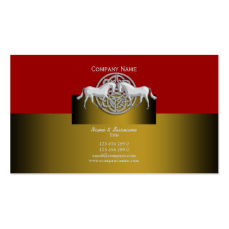 Horse business marketing red gold white celtic Double-Sided standard business cards (Pack of 100)