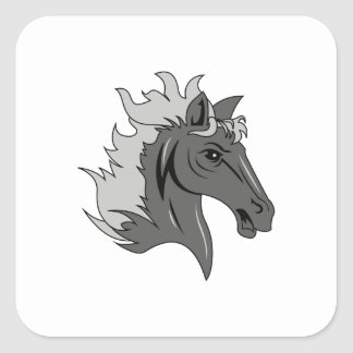 HORSE BUST SQUARE STICKER
