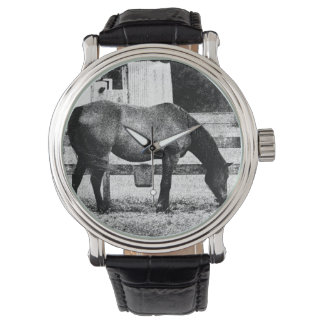 horse by fence black and white sketch wrist watches