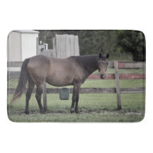 horse by fence desaturated equine animal bath mats