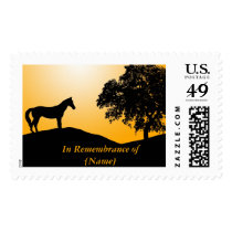 Horse By the Tree Silhouette Postage