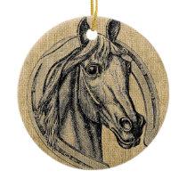 Horse Cameo on Burlap Ceramic Ornament