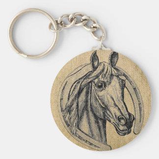 Horse Cameo on Burlap Keychain