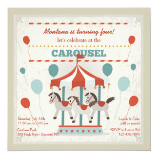 Horse Carousel Invitation