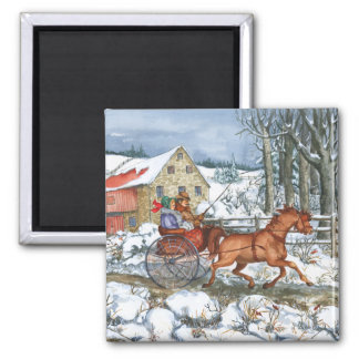 Horse & Carriage 2 Inch Square Magnet
