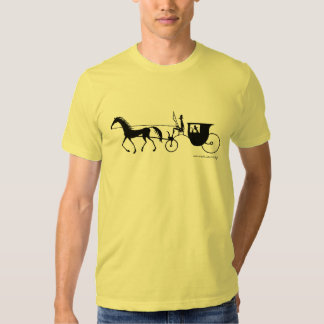 Horse Carriage black and white pen ink drawing T-shirt