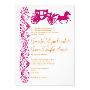 Horse Carriage Hot Pink Orange Wedding Invitations