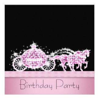 Horse Carriage Pink Black Princess Birthday Party Personalized Invite