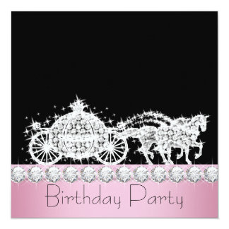 Horse Carriage Pink Princess Birthday Party Custom Invitation