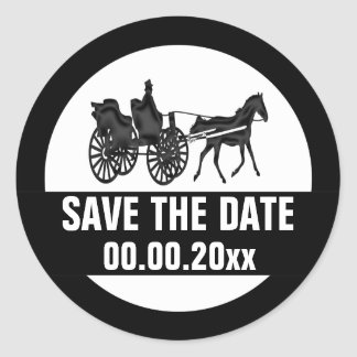 Horse carriage save the date BW Classic Round Sticker