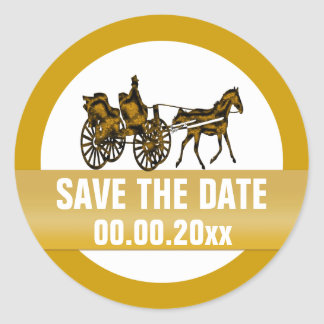 Horse carriage save the date classic round sticker