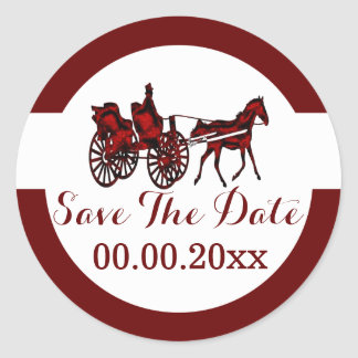 Horse carriage save the date RW Classic Round Sticker