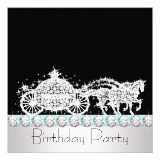 Horse Carriage Teal Blue Princess Birthday Party Personalized Invites