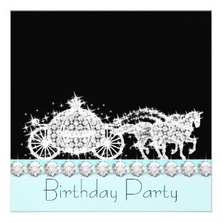 Horse Carriage Teal Blue Princess Birthday Party Personalized Announcement