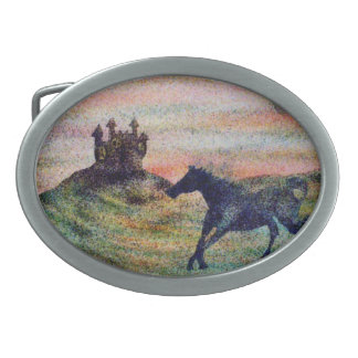 Horse & Castle Pewter Belt Buckle